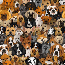 Vector Dogs Different Breeds Seamless Pattern Or Wrapping Paper 2018 Year Of Dog Background With Husky, Dolmatian, Bulldog, Schnuzer, Spaniell And Other Breeds