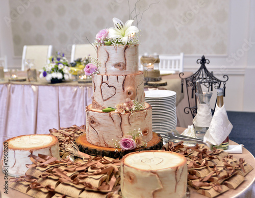 Plakat Drzewnego bagażnika Ślubny tort na stole