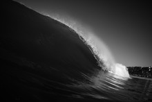 Black And White Water Shot Of A Breaking Wave.