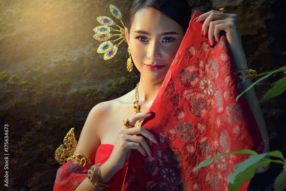 Fototapeta Asian woman wearing traditional Laos culture,vintage style,Laos