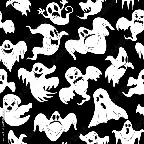 Vector illustration of seamless pattern with Halloween spooky ghosts for horror holiday party celebration Canvas Print