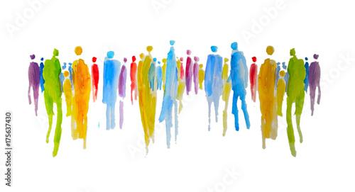 Foto Silhouette von vielen bunten Menschen in einer Gruppe, Menschengruppe, Zusammenh