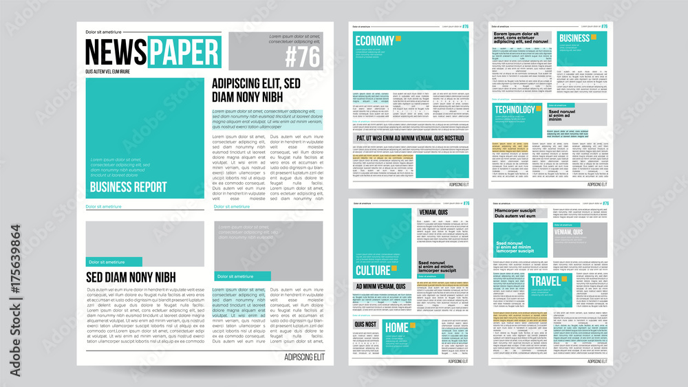 Fototapety, obrazy: Newspaper Template Vector. Financial Articles, Business Information. Opening Editable Headlines Text Articles. Realistic Isolated Illustration