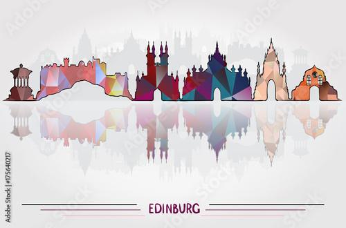 Obraz na dibondzie (fotoboard) Tło wektor miasta Edynburg