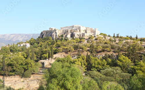 landscape of Parthenon Acropolis as seen from Thissio Athens Greece