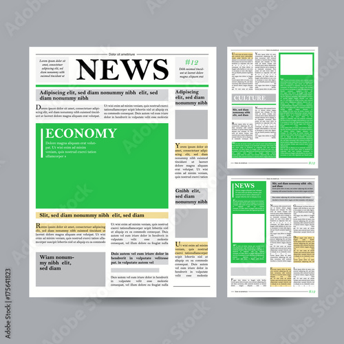 Newspaper Design Template Vector Financial Articles Advertising