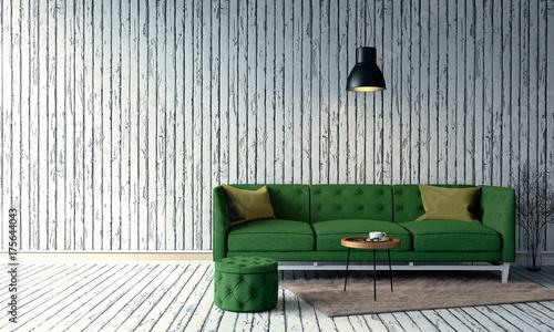 Plakat 3D rendering wewnętrzny nowożytny żywy pokój
