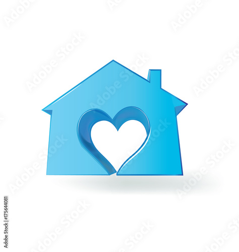 Awesome Logo Blue House With A Heart Love Vector Image Buy This Home Remodeling Inspirations Genioncuboardxyz