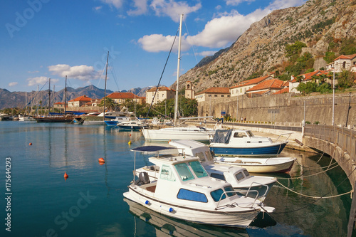 City on the water View of Old Town of Kotor and Boka Kotorska Bay. Montenegro