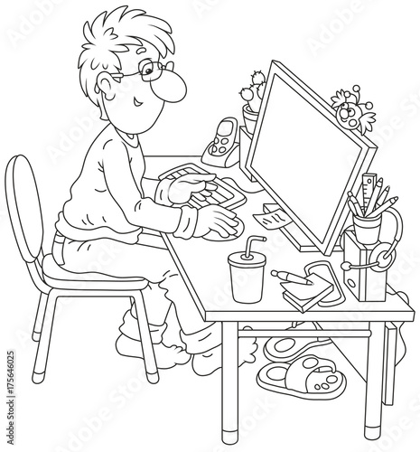 Computer user at work Poster