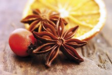 Star Anise, Dried Orange Slice And Rose Hip On A Wooden Base