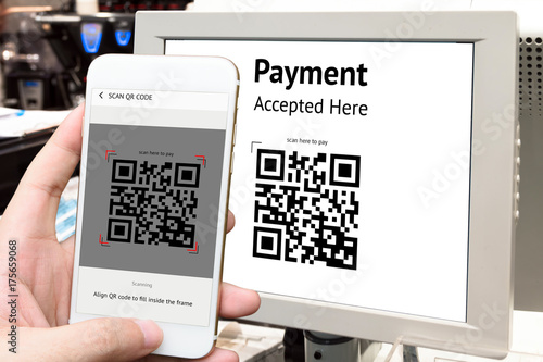 Qr code payment , online shopping , cashless technology