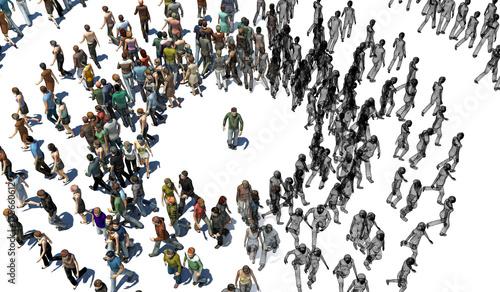 Persone, Emerginazione, Diversità, Isolamento, Illustrazione 3d Canvas Print