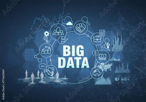Big data concept, dark blue background