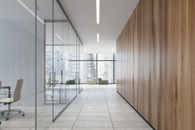 Glass And Wooden Office Corridor