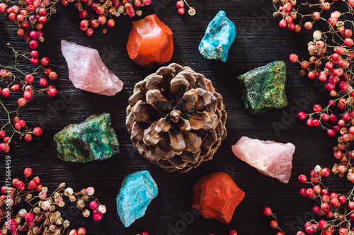 Fotografie, Obraz  Pine Cone with Stones
