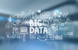 Big data concept, blurred office background