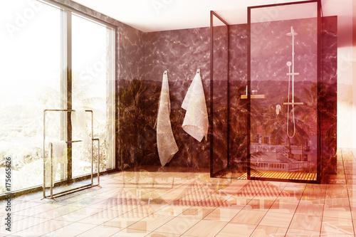 Plakat Marmurowa łazienka, prysznic dwuosobowy