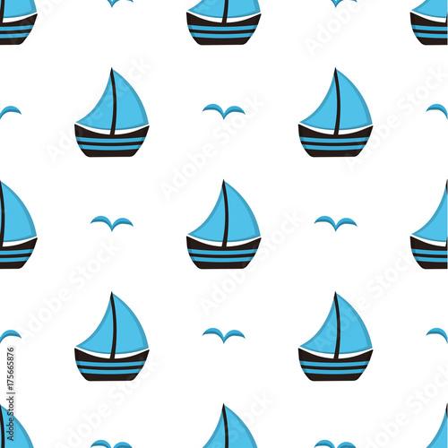 Fototapeta niebieskie łódki na białym tle