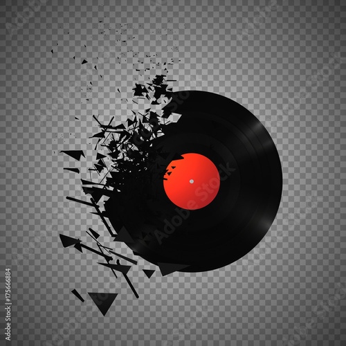 Cuadros en Lienzo Vintage vinyl records broken and shattered into small pieces isolated vector ill