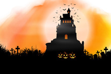 Halloween Background On Waterc...