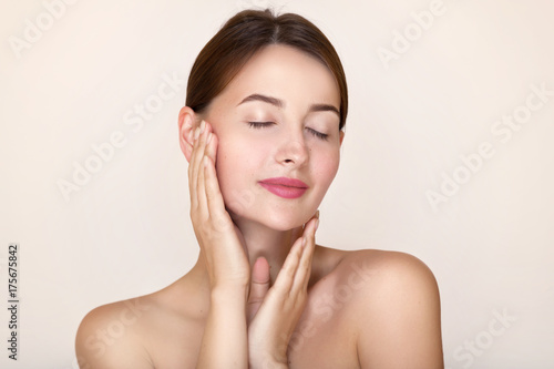 Fototapeta Spa girl portrait. Skin care treatment and rejuvenation. Perfect woman healthy young face obraz na płótnie