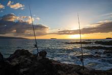Ocean Fishing On Hawaiin Beach