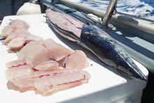 Fresh Cut Fish On An Ocean Cha...