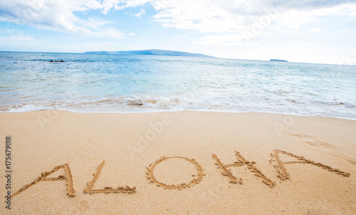 The word Aloha written in sand at the beach Wallpaper Mural