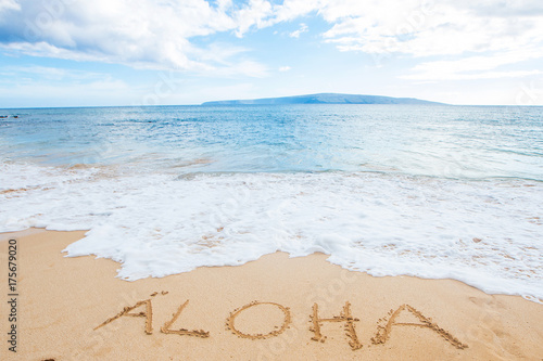The word Aloha written in sand at the beach Canvas Print