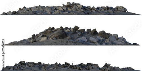 Fotografía  Heaps of rubble and debris isolated on white 3d illustration