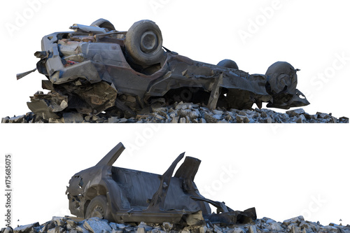 Cuadros en Lienzo Heaps of rubble and debris isolated on white 3d illustration