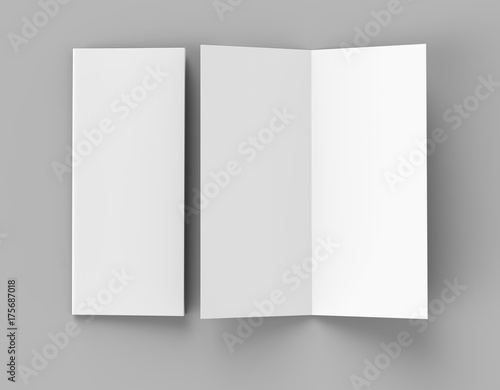 Bi fold or  Vertical half fold brochure mock up isolated on soft gray background Canvas-taulu