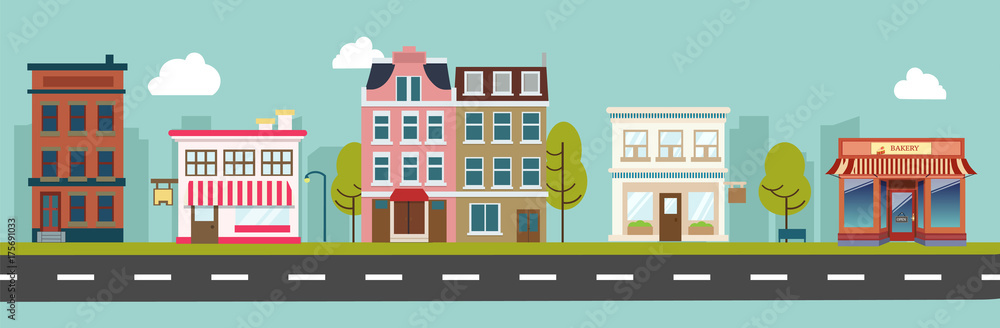 Fototapety, obrazy: City street and store buildings vector illustration, a flat style design.