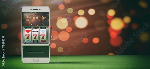 фотография  Slot machine on a smartphone screen, green felt and abstract background