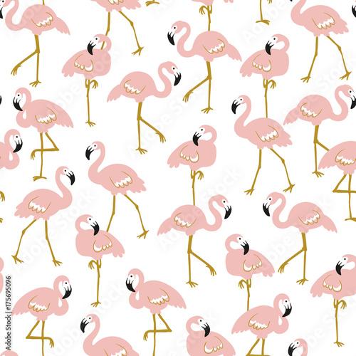 Wektor wzór z flamingami na białym tle. Ręcznie rysowane tropikalny projekt tkaniny, papieru do pakowania lub tapety