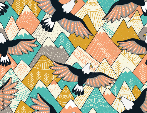 Cotton fabric Ethnic seamless pattern with with mountains and eagles. Bright ornamental vector background for fabric, wrap paper and wallpaper.