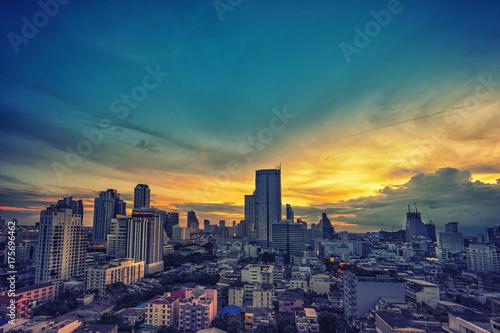 Zdjęcie XXL streszczenie sztuka gród zachód słońca na filtr farby olejnej