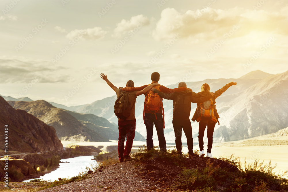 Fototapeta Happy friends travel expedition concept