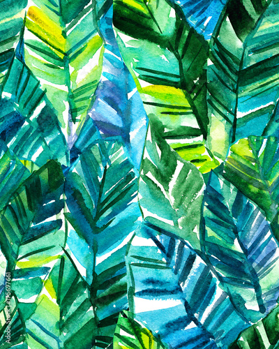 Cotton fabric Seamless watercolor banana palm leaf pattern. Bright tropical background.