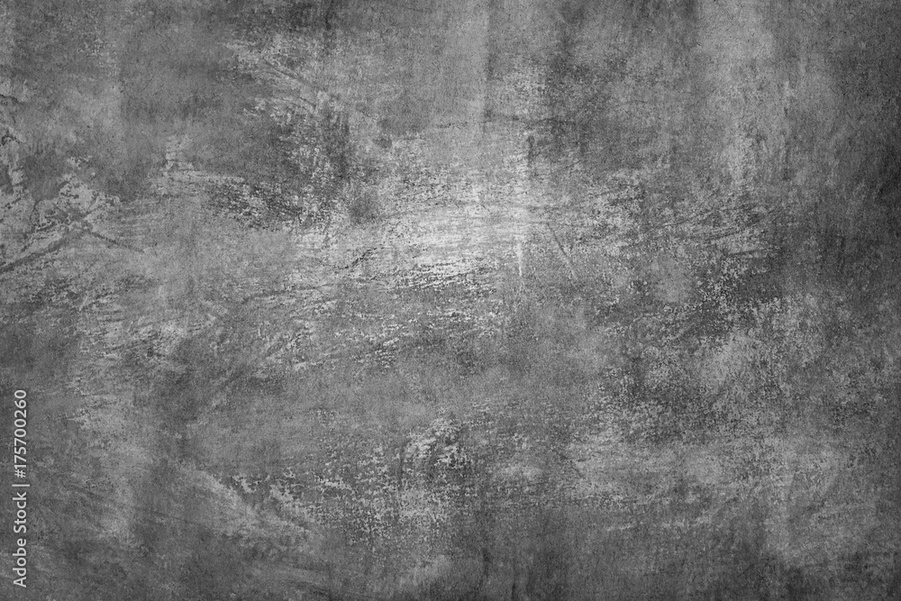 Fototapety, obrazy: Black and white (shades of gray), grungy abstract painting. Textured background.