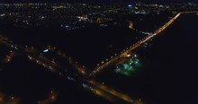 Aerial Night Illuminated Highw...