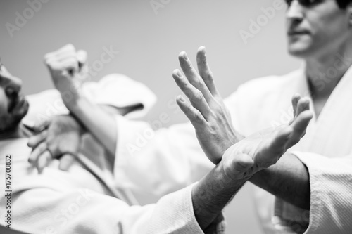 Canvas Print Fight between two aikido fighters