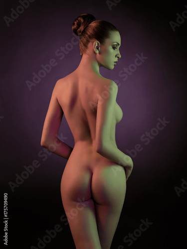 Poster womenART Elegant nude model in the light colored spotlights