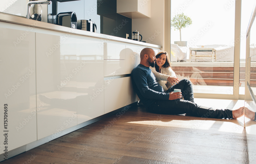 Fototapety, obrazy: Loving young couple spending time together at home
