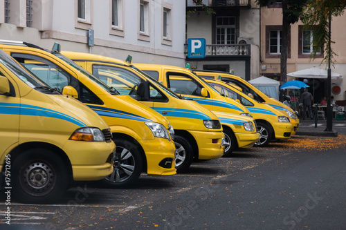 Foto op Canvas New York TAXI Yellow taxis in Madeira island