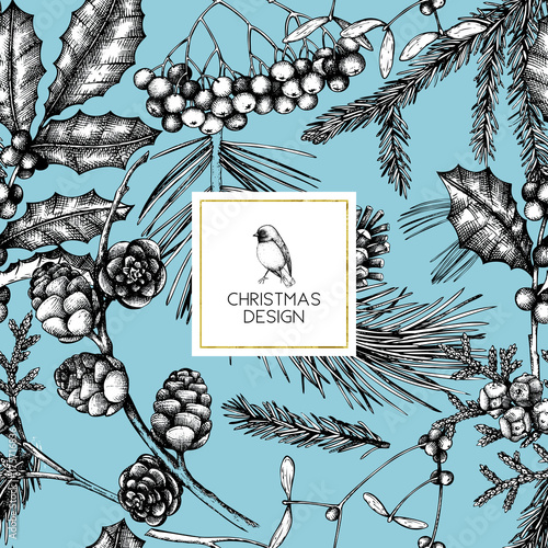 Stoffe zum Nähen Vektor-Hintergrund mit Hand gezeichnet Winter, die Bäume zu skizzieren. Nahtlose Muster mit traditionellen Weihnachts-Pflanzen und Blumen. Vintage Urlaub Dekor.