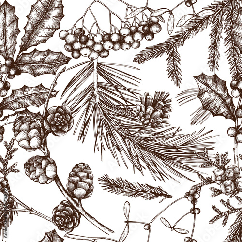 tlo-z-recznie-rysowane-zimowe-drzewa-szkic-bezszwowy-wzor-z-tradycyjnymi-boze-narodzenie-roslinami-i-kwiatami-vintage-wystroj