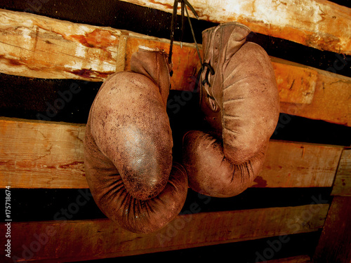 Boxing gloves on the wall Canvas Print