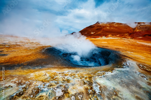 Photo sur Toile Volcan Ominous view geothermal area Hverir (Hverarond). Location place Lake Myvatn, Krafla, Iceland, Europe.